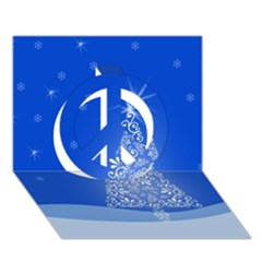 Blue White Christmas Tree Peace Sign 3D Greeting Card (7x5)
