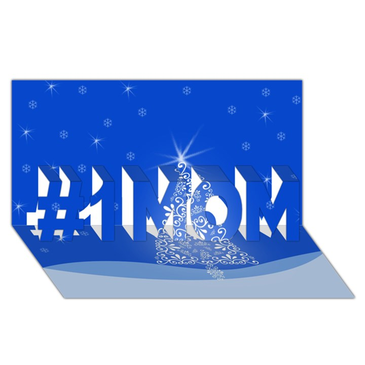 Blue White Christmas Tree #1 MOM 3D Greeting Cards (8x4)