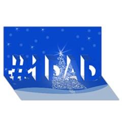 Blue White Christmas Tree #1 Dad 3d Greeting Card (8x4)