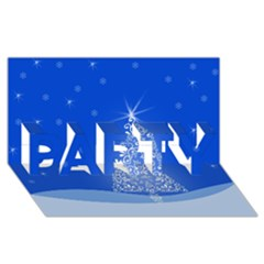 Blue White Christmas Tree PARTY 3D Greeting Card (8x4)