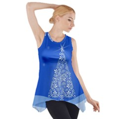 Blue White Christmas Tree Side Drop Tank Tunic