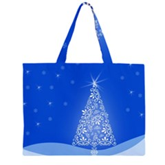 Blue White Christmas Tree Zipper Large Tote Bag