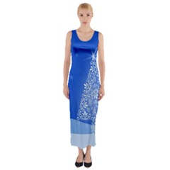 Blue White Christmas Tree Fitted Maxi Dress