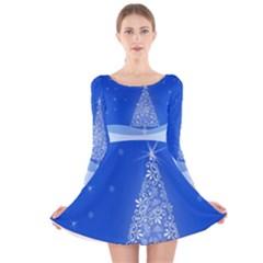 Blue White Christmas Tree Long Sleeve Velvet Skater Dress