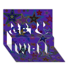 Purple Christmas Party Stars Get Well 3D Greeting Card (7x5)