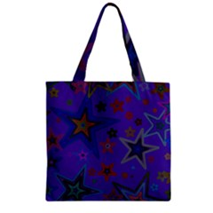 Purple Christmas Party Stars Zipper Grocery Tote Bag