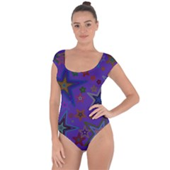 Purple Christmas Party Stars Short Sleeve Leotard (Ladies)