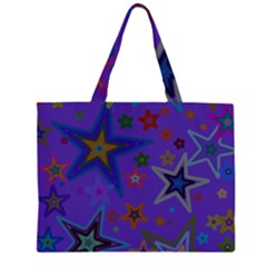Purple Christmas Party Stars Large Tote Bag