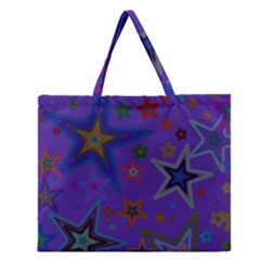 Purple Christmas Party Stars Zipper Large Tote Bag