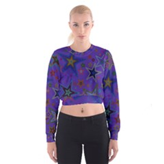 Purple Christmas Party Stars Women s Cropped Sweatshirt