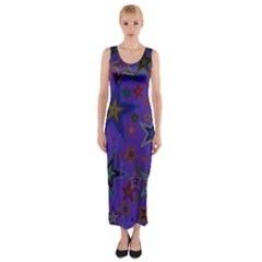 Purple Christmas Party Stars Fitted Maxi Dress