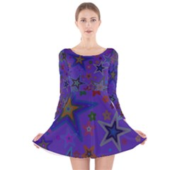 Purple Christmas Party Stars Long Sleeve Velvet Skater Dress