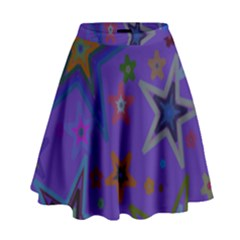 Purple Christmas Party Stars High Waist Skirt