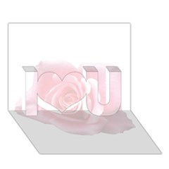Pink White Love Rose I Love You 3d Greeting Card (7x5)