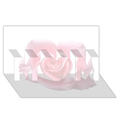 Pink White Love Rose MOM 3D Greeting Card (8x4)