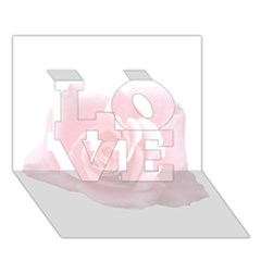Pink White Love Rose Love 3d Greeting Card (7x5)
