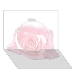 Pink White Love Rose Circle 3d Greeting Card (7x5)