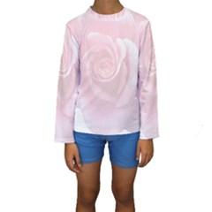 Pink White Love Rose Kid s Long Sleeve Swimwear