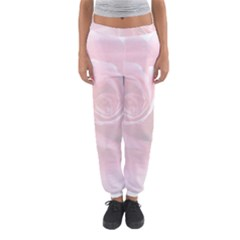 Pink White Love Rose Women s Jogger Sweatpants