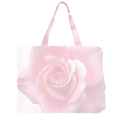 Pink White Love Rose Zipper Large Tote Bag