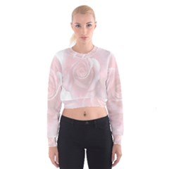 Pink White Love Rose Women s Cropped Sweatshirt
