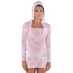 Pink White Love Rose Women s Long Sleeve Hooded T-shirt