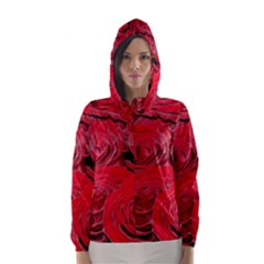Red Love Roses Hooded Wind Breaker (women)