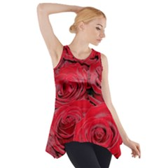 Red Love Roses Side Drop Tank Tunic