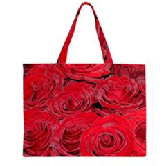 Red Love Roses Zipper Large Tote Bag