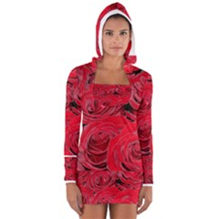 Red Love Roses Women s Long Sleeve Hooded T-shirt