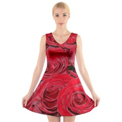 Red Love Roses V Neck Sleeveless Skater Dress