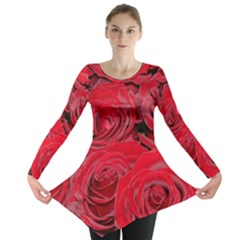 Red Love Roses Long Sleeve Tunic