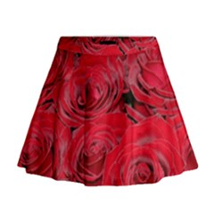 Red Love Roses Mini Flare Skirt