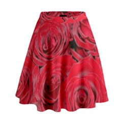 Red Love Roses High Waist Skirt
