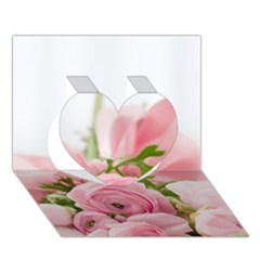 Romantic Pink Flowers Heart 3d Greeting Card (7x5)
