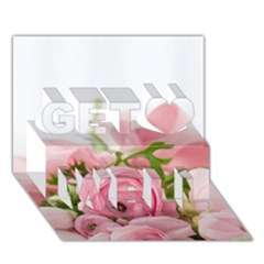 Romantic Pink Flowers Get Well 3D Greeting Card (7x5)
