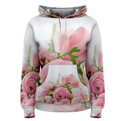 Romantic Pink Flowers Women s Pullover Hoodie