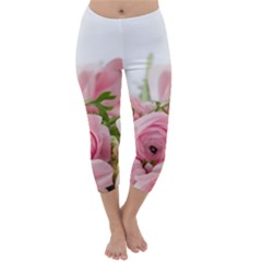 Romantic Pink Flowers Capri Winter Leggings