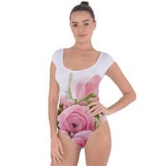 Romantic Pink Flowers Short Sleeve Leotard (Ladies)
