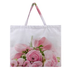 Romantic Pink Flowers Zipper Large Tote Bag