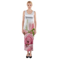 Romantic Pink Flowers Fitted Maxi Dress