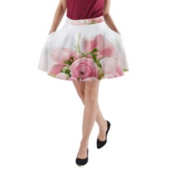Romantic Pink Flowers A-Line Pocket Skirt