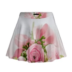 Romantic Pink Flowers Mini Flare Skirt