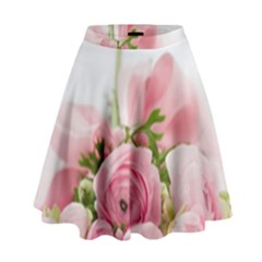 Romantic Pink Flowers High Waist Skirt