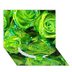 Festive Green Glitter Roses Valentine Love  Circle Bottom 3D Greeting Card (7x5)