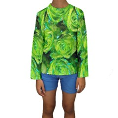 Festive Green Glitter Roses Valentine Love  Kid s Long Sleeve Swimwear