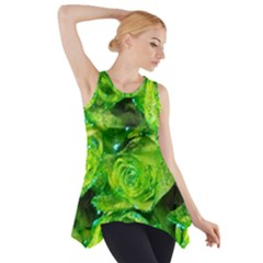 Festive Green Glitter Roses Valentine Love  Side Drop Tank Tunic