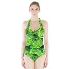 Festive Green Glitter Roses Valentine Love  Women s Halter One Piece Swimsuit