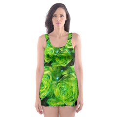 Festive Green Glitter Roses Valentine Love  Skater Dress Swimsuit