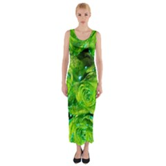 Festive Green Glitter Roses Valentine Love  Fitted Maxi Dress